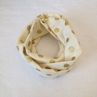 Gold Polka Dot Toddler Infinity Scarf w/ Personalize 100% Cotton Flannel Dribble Scarf Drool Bib