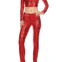 BCCT8025  PARTY GLITTER LONG SLEEVE CROP TOP PAIR WITH PARTY PANTS(TWO PIECE SETS)