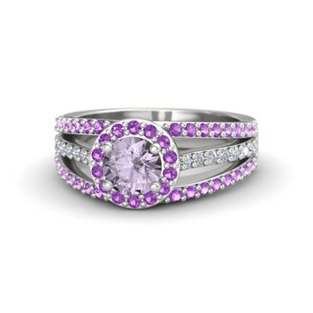 Round Rose de France Sterling Silver Ring with Amethyst & Diamond
