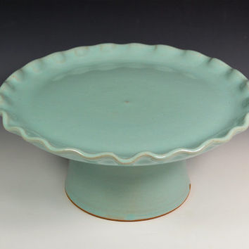 Wedding Cake Stand - Robins Egg Blue - Scalloped/Rippled Edge
