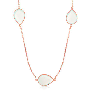 Sterling Silver Rose Gold Plated Teardrop Station Long Necklace with Aqua Chalcedony