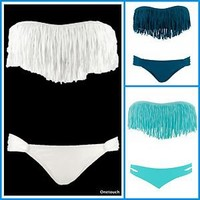 2012 girl  hot sexy Fringe Benefits Dolly Bikini Top & Bottom swimsuit