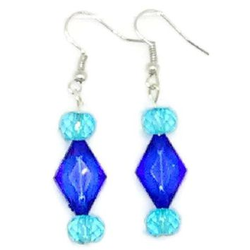 Blue Faceted Diamond with Light Blue Faceted Round Beaded Earrings