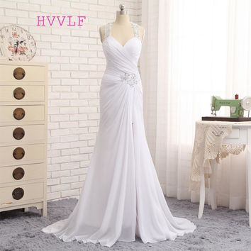 Vestido De Noiva 2017 Beach Wedding Dresses Mermaid Halter Chiffon Applique Lace Vintage Wedding Gown Bridal Dresses HVVLF