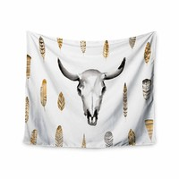 Steer - White Gold Tribal Watercolor Wall Tapestry