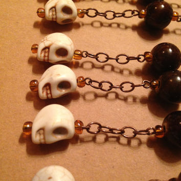 Skull Halloween Shower Curtain Decoration for Bathroom.  White. Brown. Bronze. Ceramic. Howlite.