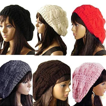 Women's Lady Beret Braided Baggy Beanie Crochet Warm Winter Hat Ski Cap Wool Knitted = 1958101508