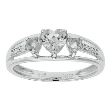.90 Ct Triple Heart Natural White Topaz .018 cttw Diamond 10K White Gold Ring