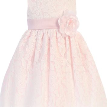 Girls Pink & White Floral Lace Dress with Shantung Sash 6M-10