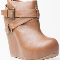 Bamboo Debrah-15 Vegan Leather Strappy Almond Toe Ankle Bootie Wedge CHESTNUT (8.5)
