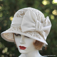 1920s Flapper Downton Abbey Style Wedding Hat in Ivory Sinamay and Lace Classic Elegance