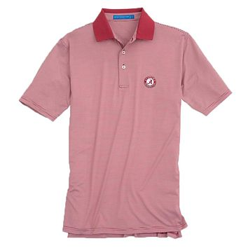 Gameday Feeder Stripe Performance Polo- University of Alabama in Crimson by Southern Tide