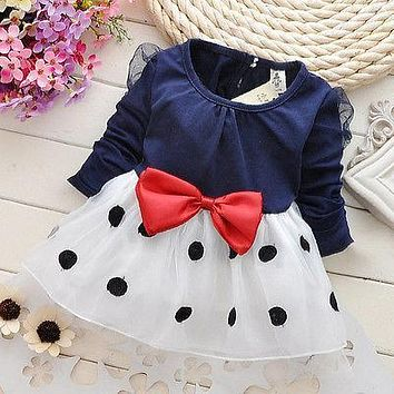 Dresses Kids Baby Toddler Girls Clothing Princess Long Sleeve Bow Polka Dot Cute Party Girl Summer Dress