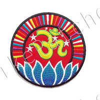 Om Symbol Sign Red Patch - Ohm Blue Lotus White stars New Sew / Iron On Patch Embroidered Applique Size 8cm.x8cm.