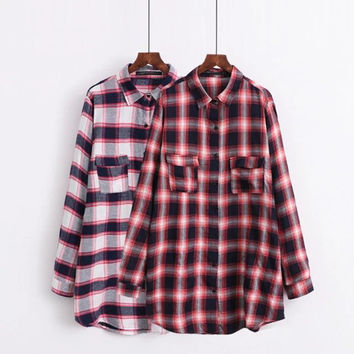New Style European Ladies Plaid Shirt Double Pockets Casual Turn-down Collar Shirt Women Women Formal Tops Xsz0829