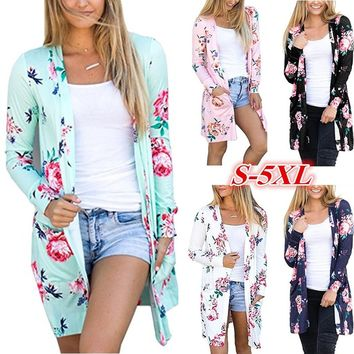 Long Sleeve Floral Print Casual Loose Cardigan