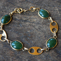 Vintage Winard Green Jade Bracelet 1/20 12K Gold Filled Link Style Oval Cabochons Holiday Jewelry Mid Century 1960's // Vintage Jade Jewelry