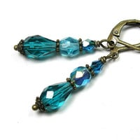 Dangle Earrings, Victorian Style, Czech Glass, Vintage Style, Teal, Blue Green, Cyan, Antiqued Brass, For Her, Womens Accessories, Fashion