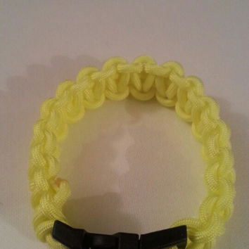 Neon yellow paracord parachute cord 550/325 bracelet with survival buckle or regular buckle