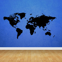 Wall decal vinyl art decor sticker design world map country words quotes paint ball mural bedroom (m1077)