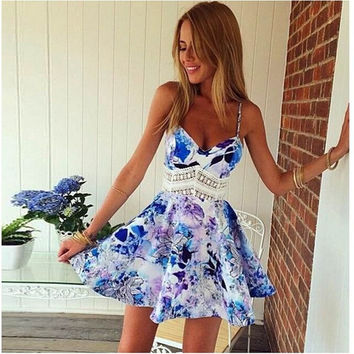 Women Sleeveless Deep V-neck Floral Printed Braces Mini Skirt Lace Hollow-out A-line Princess Dress Night Club Skirt S-XL = 5618519681
