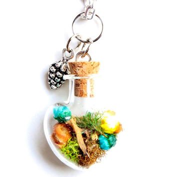 Terrarium Necklace Woodland Nature Jewelry Glass Heart Pinecone Flowers Moss