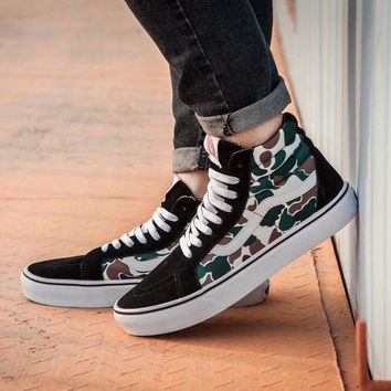 DCC3W Vans X Bape Idx New Sk8 Camouflage Graffiti Camo Mid Sneakers Canvas Shoes SJ021