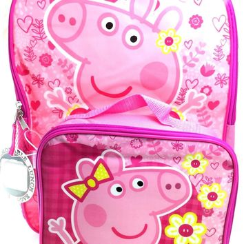 "E-ONE Peppa Pig 16"" Backpack with Detachable Insulated Lunch Box Set"