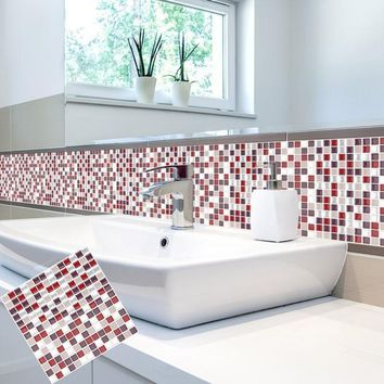 Self Adhesive Mosaic Tile Wall decal Sticker DIY Kitchen Bathroom Home Decor Vinyl W5