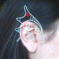 Silver Plated Handmade Wire Wrapped Tri Colour Dragon Ear Cuffs With Swarovski Elements. Dragon Ears, Fancy Dress, LARP, Dragon Jewellery