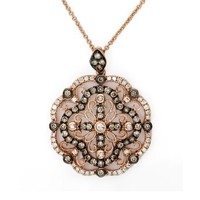 Effy Jewlery Prism Rose Gold Cognac & White Diamond Pendant, .98 TCW: Jewelry