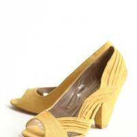 modern elegance peep toe pumps in mustard at ShopRuche.com
