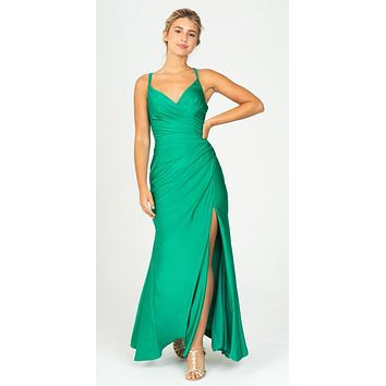 Emerald Green Fit and Flare Evening Gown with Slit