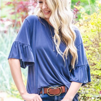 Caperno Flutter Modal Top | Dusty Blue
