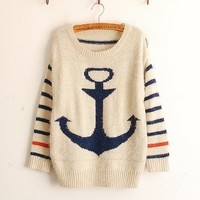 Navy Anchor Stripe Mohair Sweater
