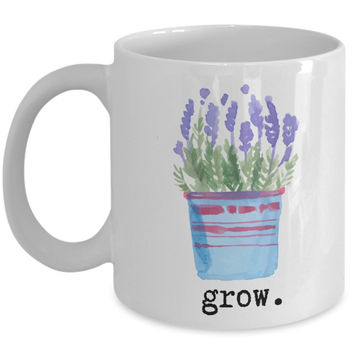 Inspire Mug - grow. Lavender Plant Watercolor - 11 oz Gift Mug