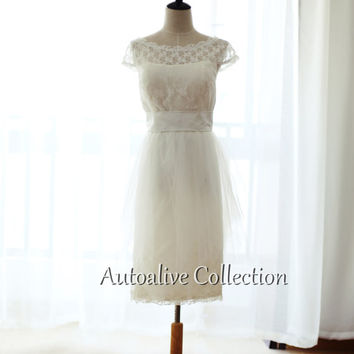 Vintage Inspired Lace Tulle Cap Sleeves Wedding Dress Short Bridesmaid Dress