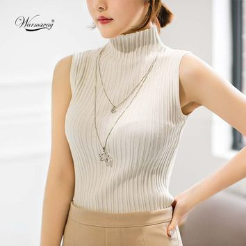 Summer Women Mock Neck Top Turtleneck Sleeveless T-shirt Slim Knitted Vest Elegant Female Tee Knitwear