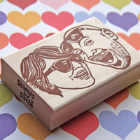 Hand Carved Mounted Custom Couple Portrait Bigger Sized Stamp -DIY Wedding Stationery-Save the Date Engagement Invitations Thank You Cards