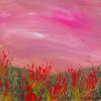 Red Bush Wild Floral Landscape. Original monotype hand pulled print painting with Mat.