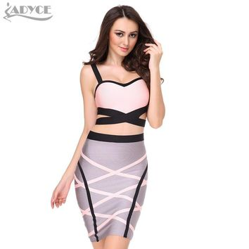 2017 New 2 two Piece set summer dress women V-neck knitted patchwork sleeveless straps Sexy lady Rayon Bodycon bandage Dress