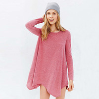 Pink long Sleeve Asymmetrical Loose Dress