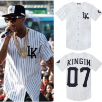 Last Kings baseball t shirt Tyga Jerseys black white unsex men women hip hop style Tees.