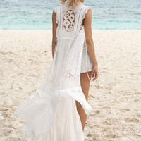 Isla Bonita Embroidered Duster Dress - White