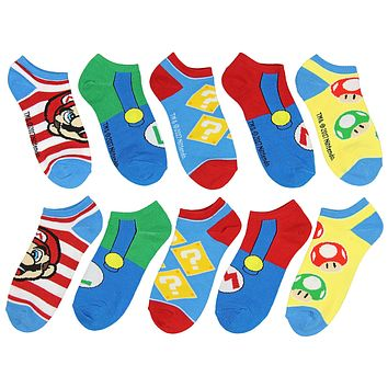 Super Mario Unisex Game Inspired 5 Pair Mix and Match Ankle Socks
