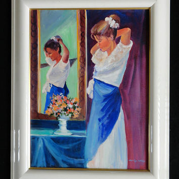 Vintage Oil Painting //  woman front mirror oil painting // signed Marilyn Fortner // oil paintings // vintage