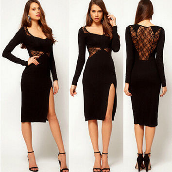 Sexy Lace Patchwork Backless Split Long Sleeve One Piece Dress [6338968257]