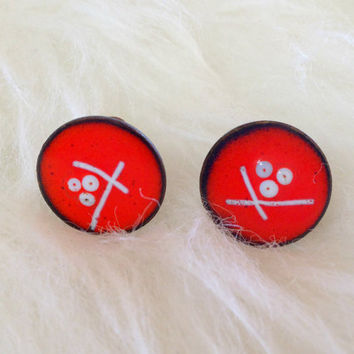 Free US Shipping - Red Modernist Copper Earrings - Screw Backs, Glazed Enamel, Round, Artistic, Retro, Abstract, 60s, Painted, Red and Black