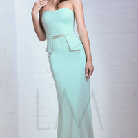 Floor Length Strapless Peplum Gown by Mignon