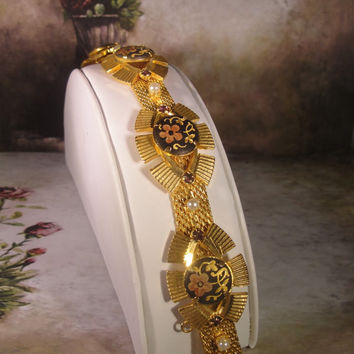 1970s JOHN HICKS Estate Gold Tone Mesh Damascene Radi Spanish Artisan Bracelet with Figurals and Faux Gems
